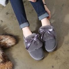 Fur top ribbon loafers_KM16w307