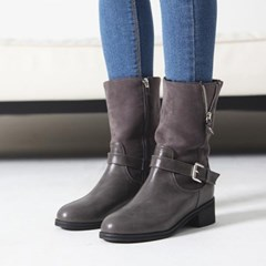 Opened short zipper combi fur half boots_KM16w319