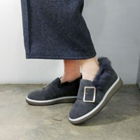 Over belted tall up fur loafers_KM16w322
