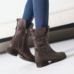 Double clip belted fur half boots_KM16w323
