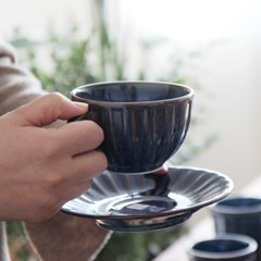 블루쉘 커피잔+소서