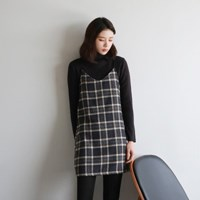 Check sleeveless mini one-piece