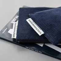 corduroy navy pouch