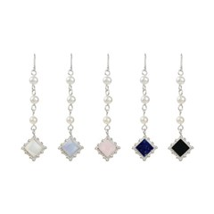 [FLOWOOM] Pearl Stone Square Earring