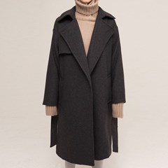TRENCH JACK WOOL COAT (CHARCOAL)