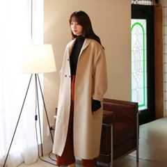 Button point high wool coat