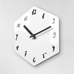 리플렉스 모던6각 캘리화이트 무소음벽시계 CA12WH_(1340696)