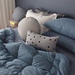 피그먼트 투톤 침구 (블루) - 퀸사이즈