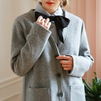 No-collar wool jacket