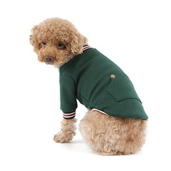 강아지 브이넥 맨투맨 - 그린