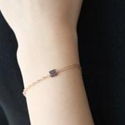 [silver925]rose black bracelet