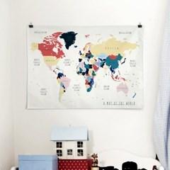 패브릭 천 포스터 F015 북유럽 세계지도 Color
