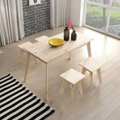 하비2 레드파인 원목 1200 테이블 세트 (1인 의자4EA) HB210
