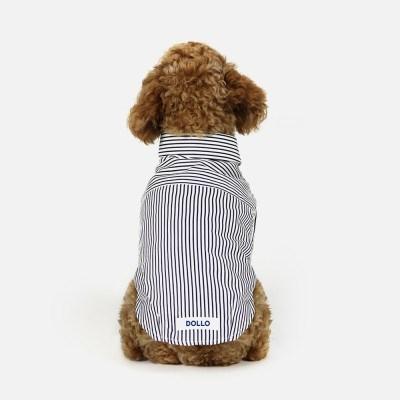 돌로 Stripe Shirts Black (1 Second Button)