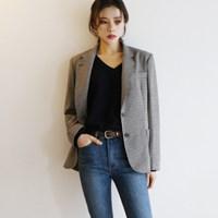 Vintage check single jacket