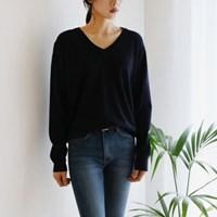 Lambswool v-neck spring knit