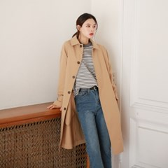 Hidden button single trench coat