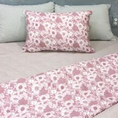 해바라기 멜란 양면 베개커버 - 핑크