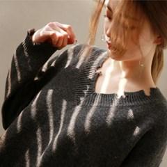 Vintage mood stylish v-neck knit