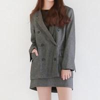 Simple suit double jacket