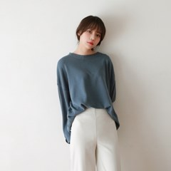 Drop shoulder round knit