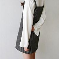 Stripe suspender mini one-piece