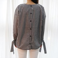 Check ribbon blouse