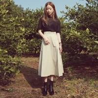 Cotton line long skirt