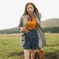 One pleat denim mini skirt
