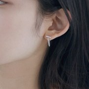 silver connected chain earring