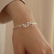 silver quartz toggle bracelet