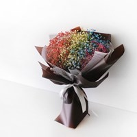 무지개 안개꽃 브라운 꽃다발(드라이플라워)
