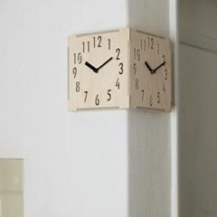 (ktk085)자작나무 코너 더블벽시계 (내츄럴)