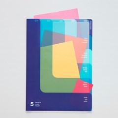 5포켓 클리어 폴더(A4) - 투웨이-블루