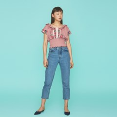 Embroidery Boho Blouse in  Pink