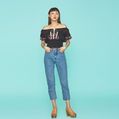 Embroidery Boho Blouse in Black
