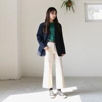 Stitch point wide cotton pants