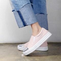 kami et muse Shiny metal toe slip on sneakers_KM17s080