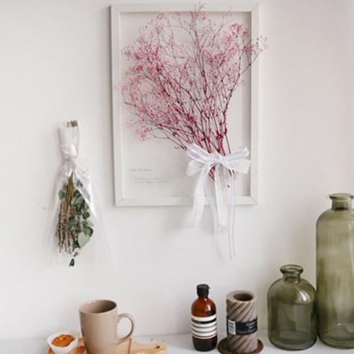투명 식물 인테리어 액자-프리저브드안개꽃 A3