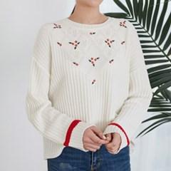 [마이블린] 꽃자수 다이아 패턴 니트_(476494)