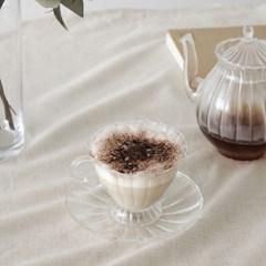 앤틱글라스 커피잔 (컵+소서)_(839291)