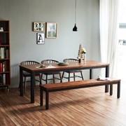 디웰 아카시아 러스틱원목 6인 식탁세트(암체어/벤치)
