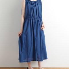 TUTIE 3중 거즈 코튼 플리츠 디테일 투피스 실루엣 드레스