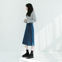 Wrap long denim skirt