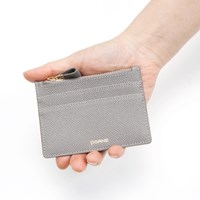 Real Leather Classic Zip Card Wallet