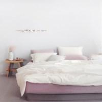 플레인 에스타도 천연염색 침구(60수)-딥핑크&크림 (더블/퀸)