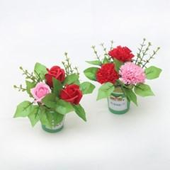 [펠트친구] 초록비누꽃화분만들기(카네이션,장미선택)