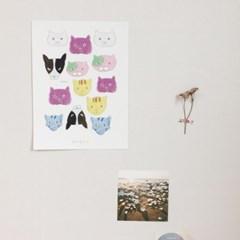 [달의공간] 고양이 일러스트 포스터
