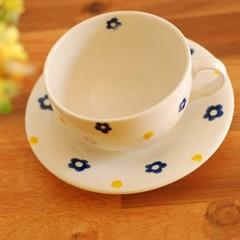 카페 컵&소서_블루플라워