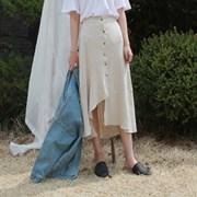 Unbal linen long skirt